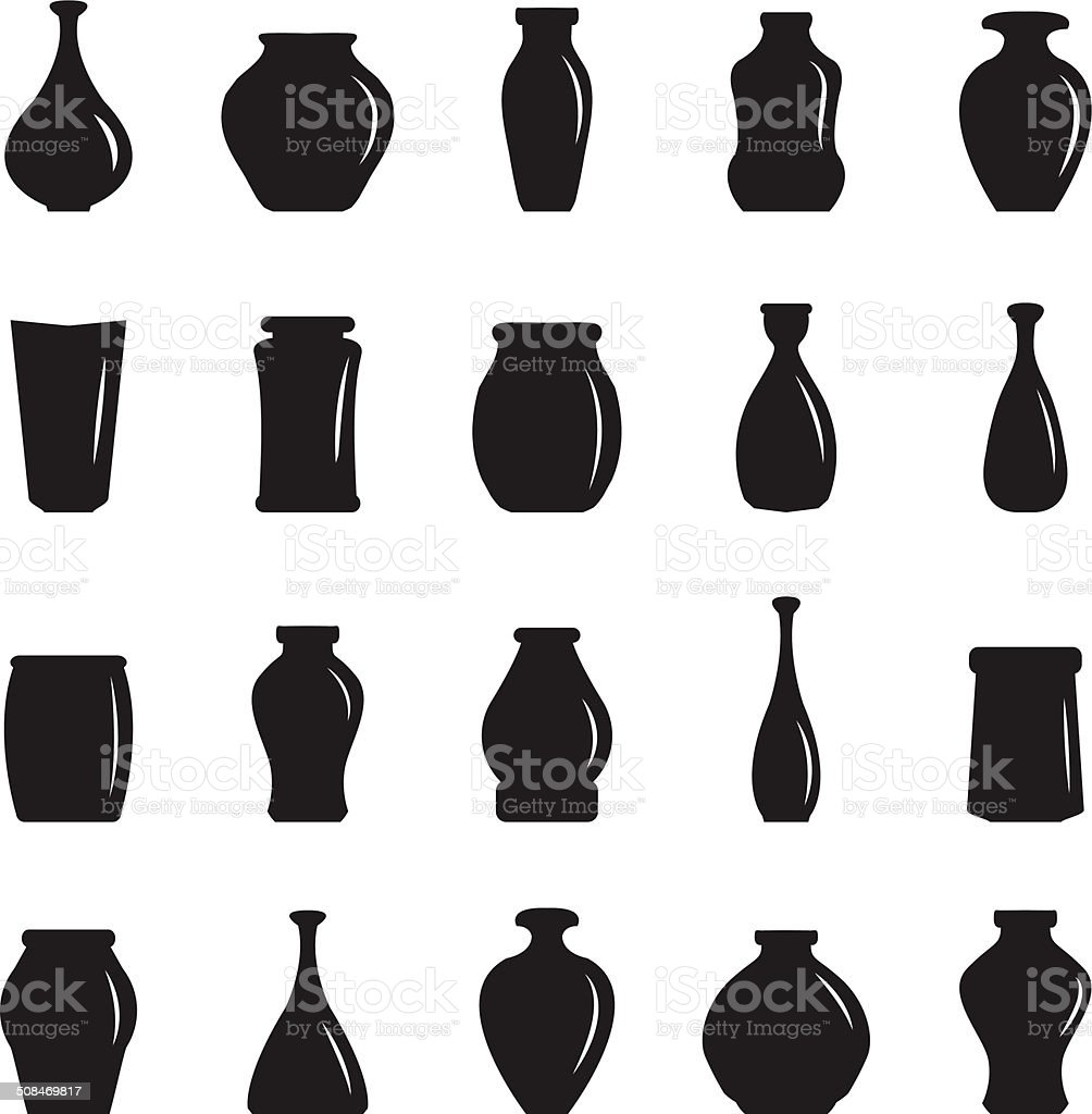 Vase icons set vector art illustration