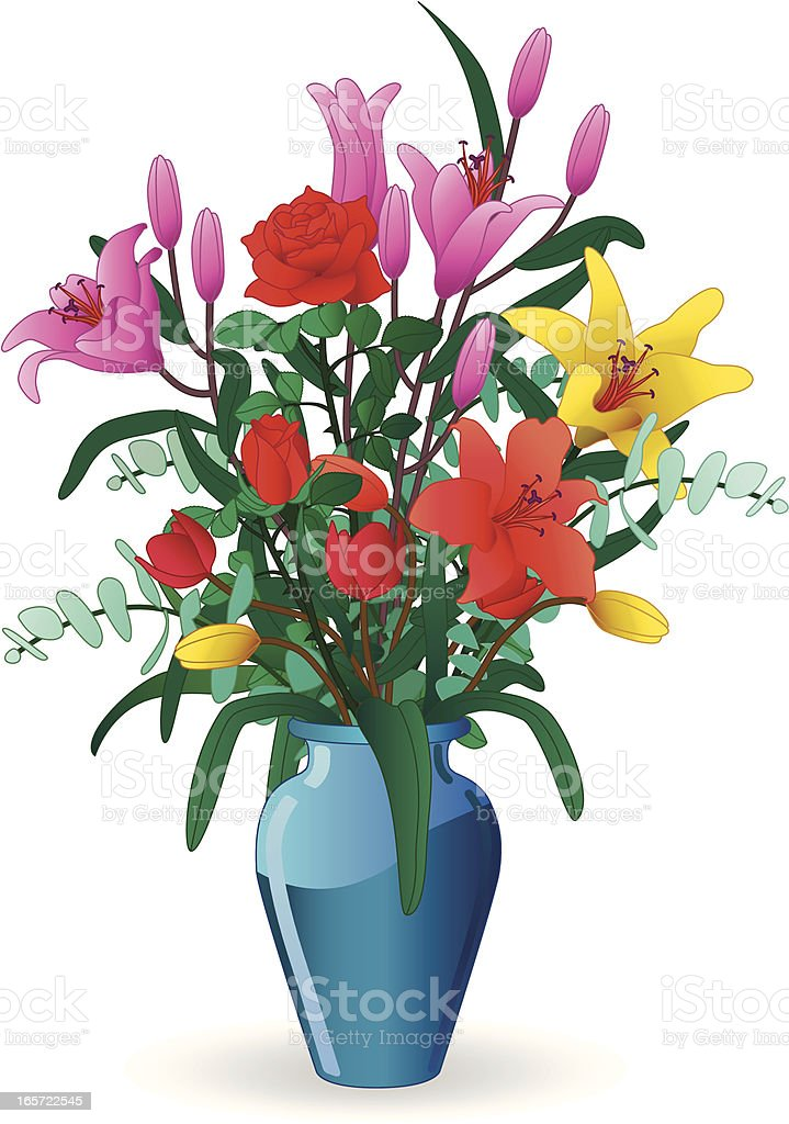 vase of flowers vector art illustration