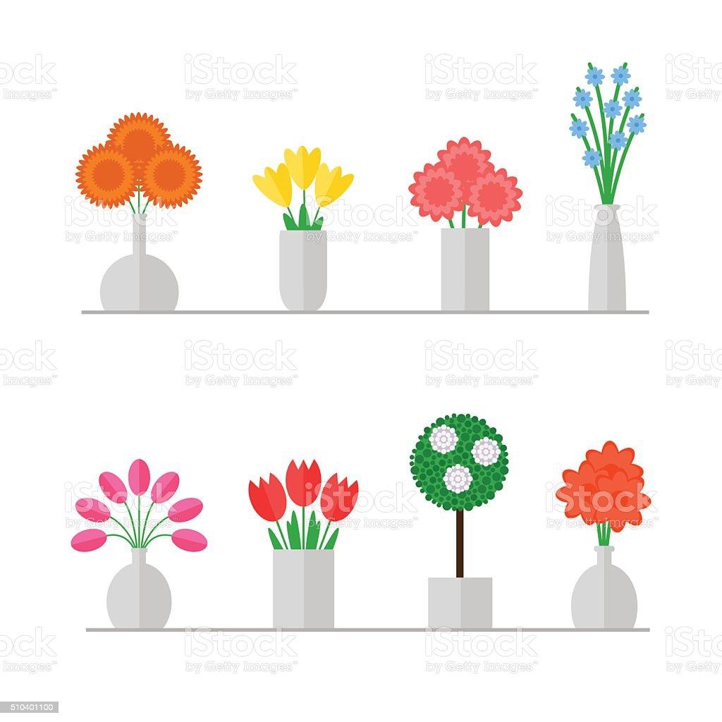 Vase of flowers. vector art illustration