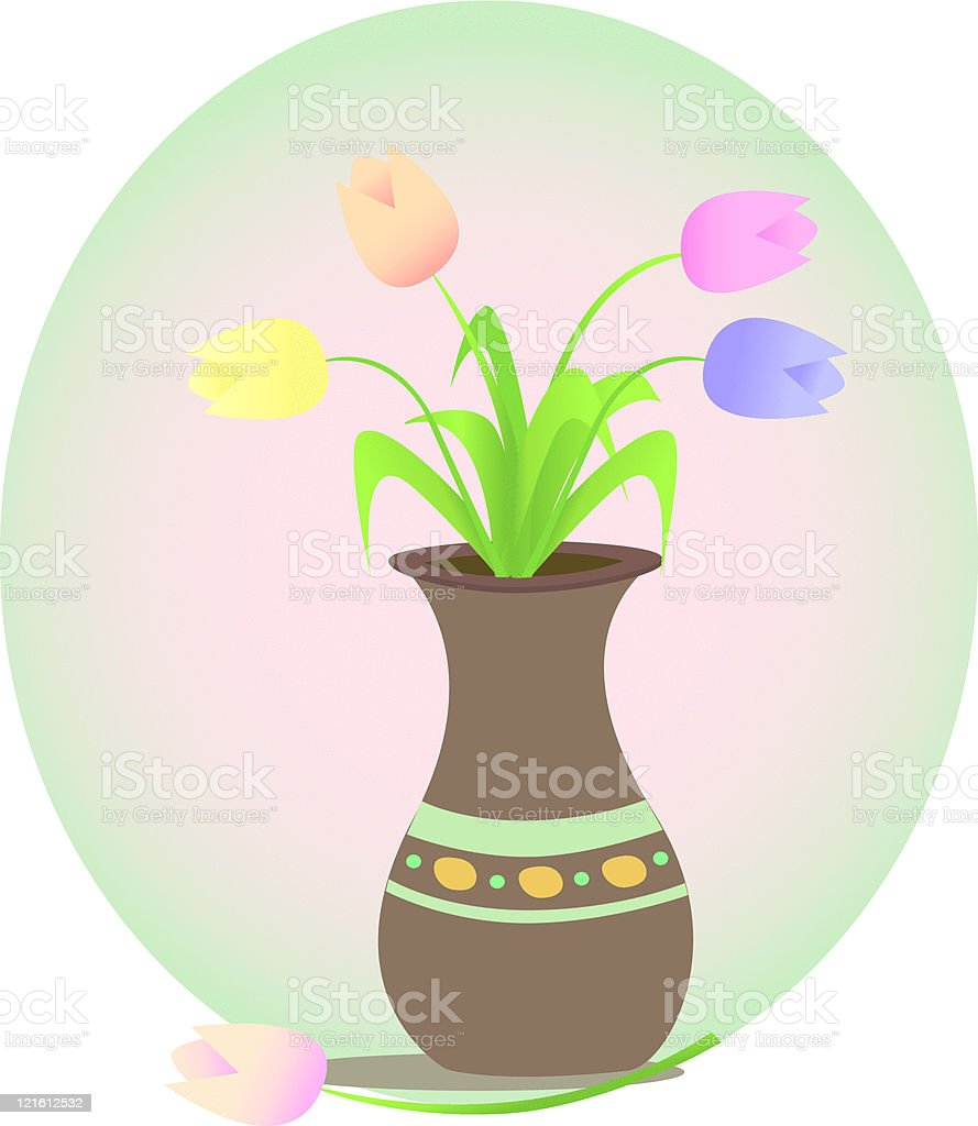 Vase of Tulips royalty-free stock vector art
