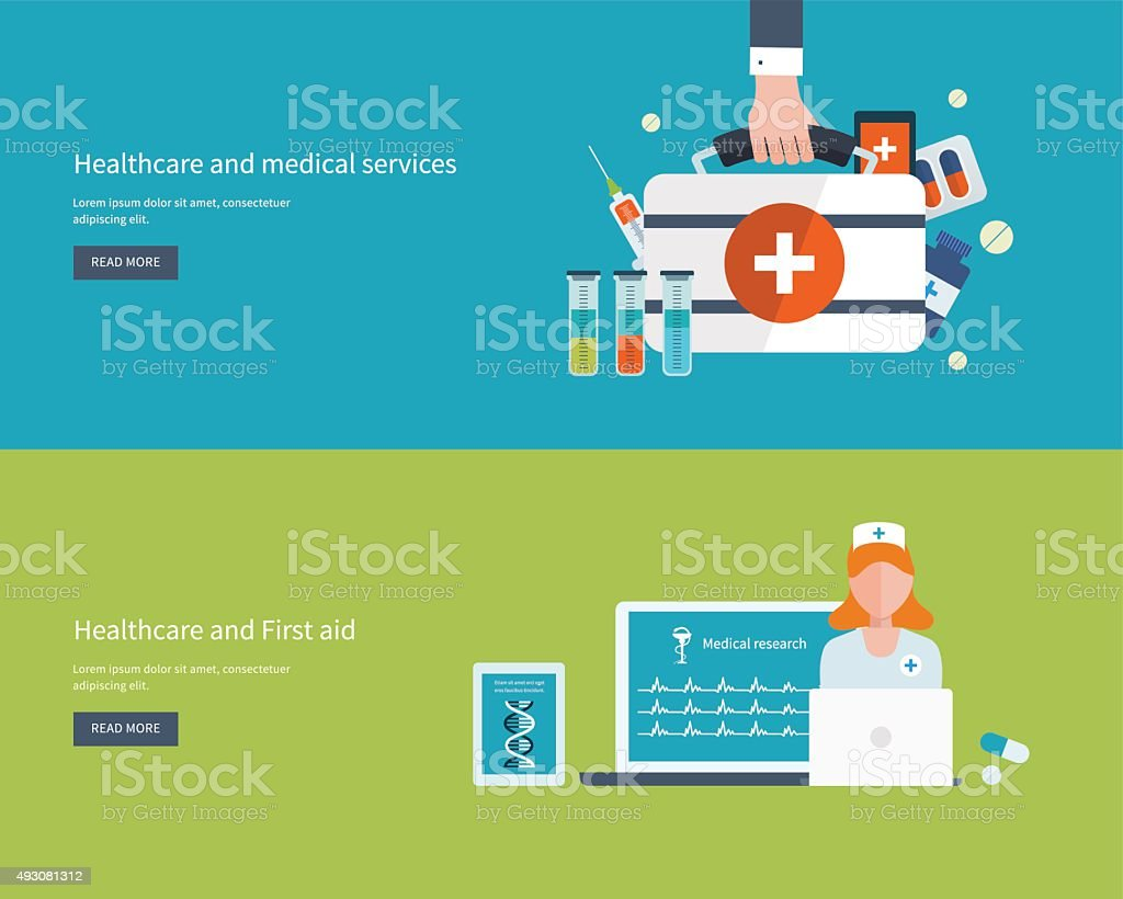 Vctor illustration concept for health care, medical help and research vector art illustration