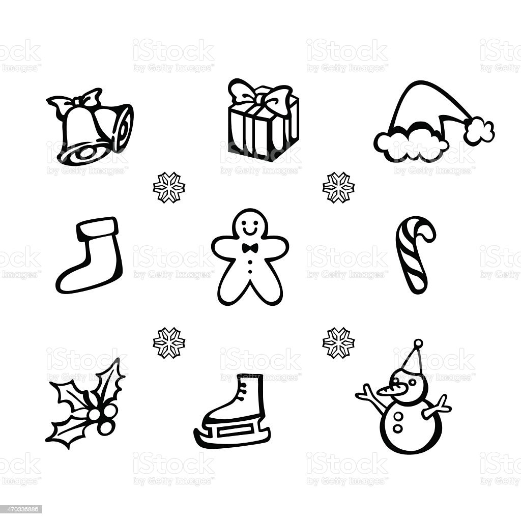 Vctor set of Christmas icon vector art illustration