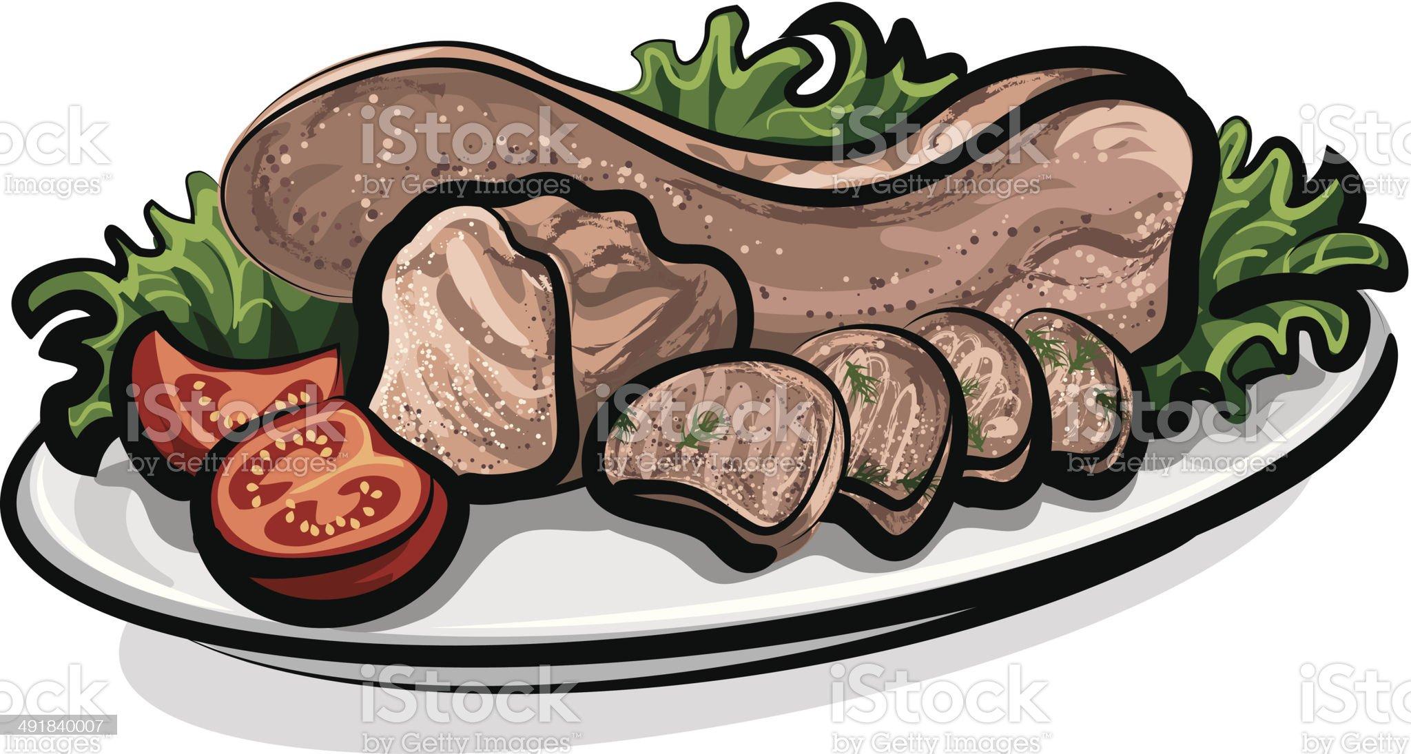 veal tongue royalty-free stock vector art