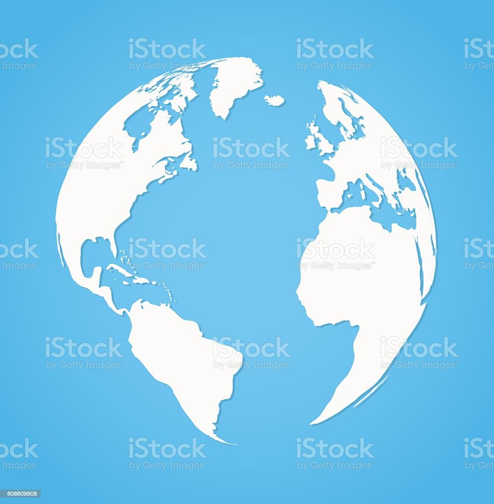 Vecrot globe earth icon silhouette on blue background flat style vector art illustration