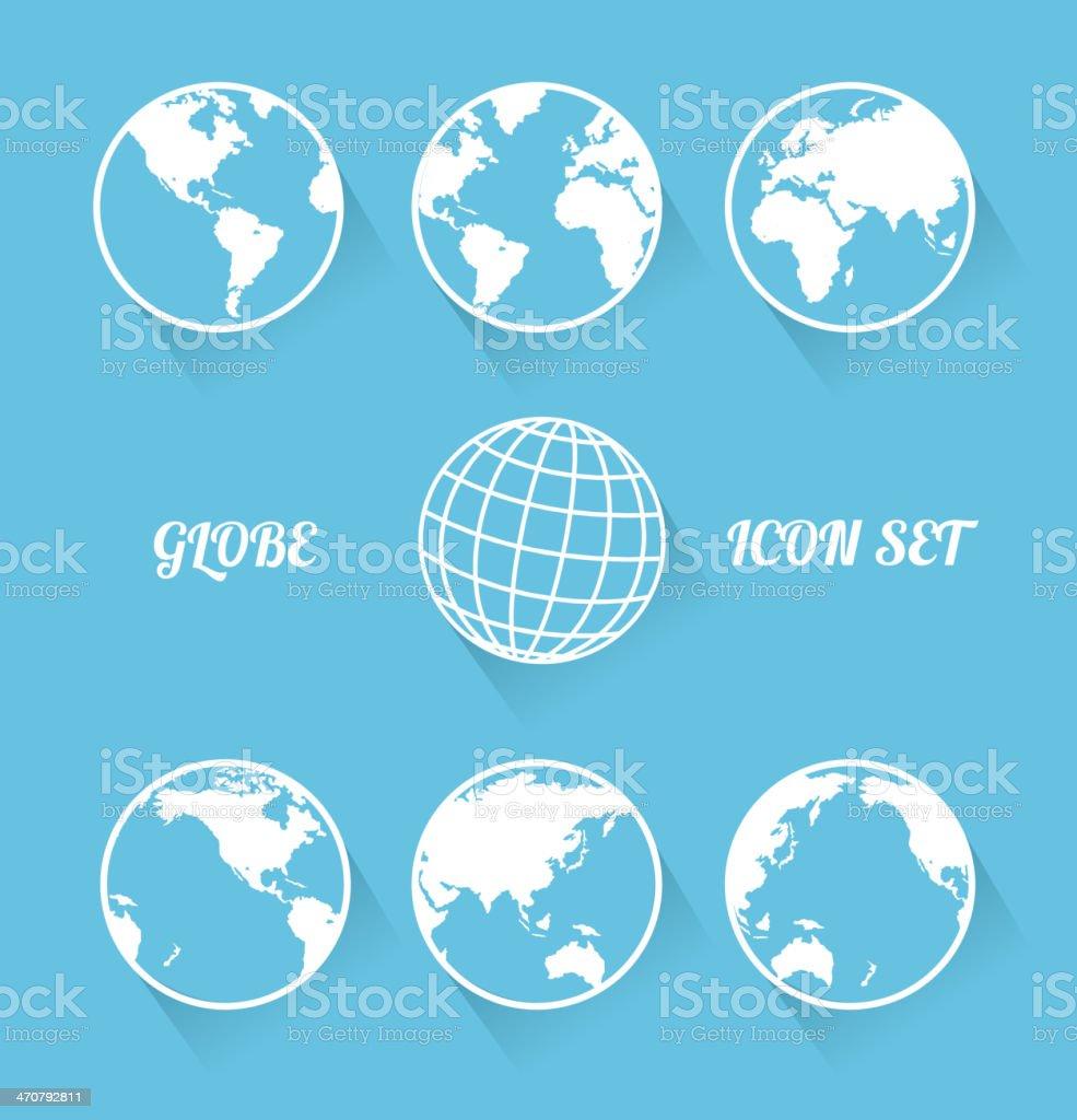 Vecrot globe icon set. Modern flat style vector art illustration