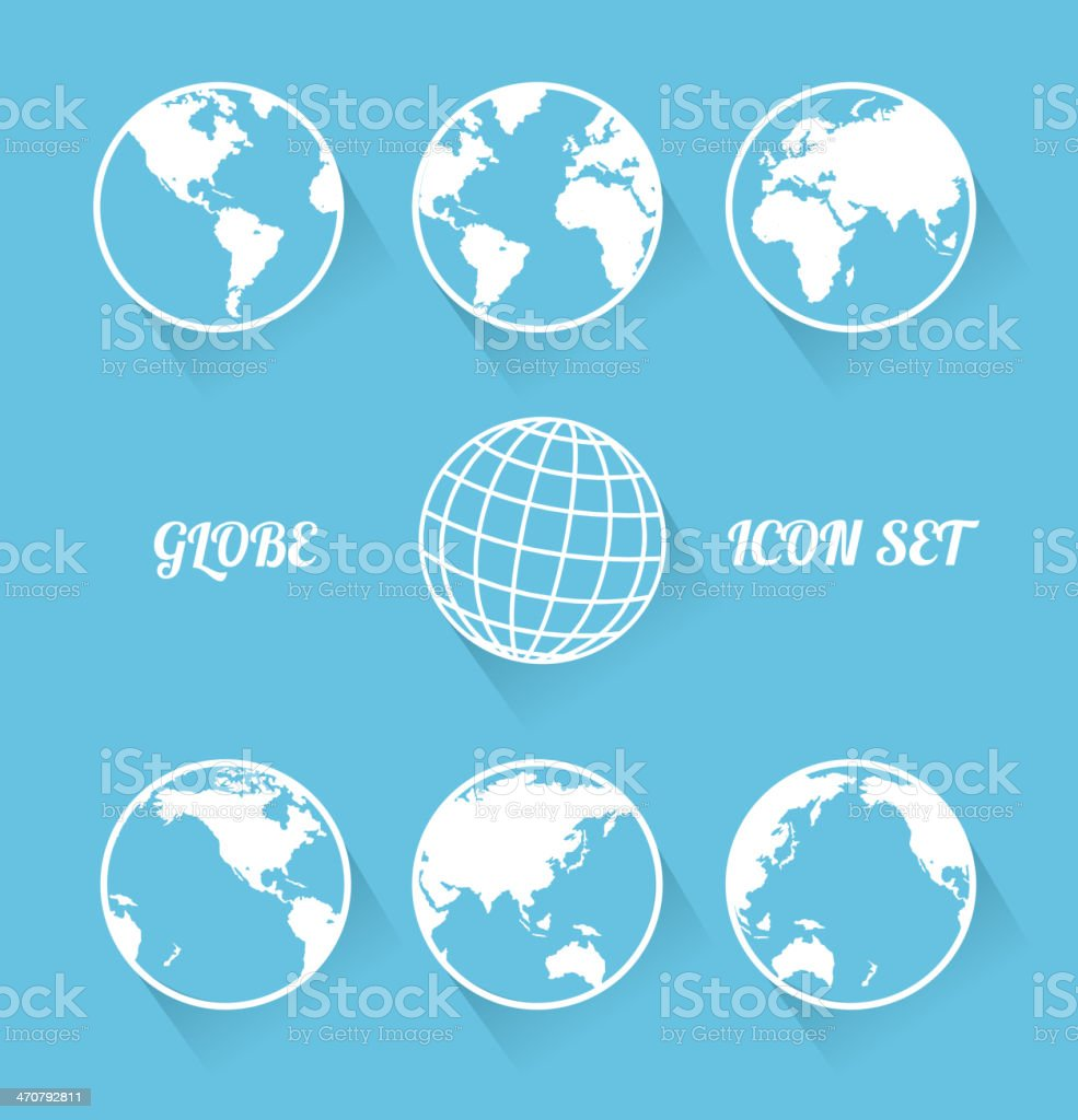Vecrot globe icon set. Modern flat style vector art illustration
