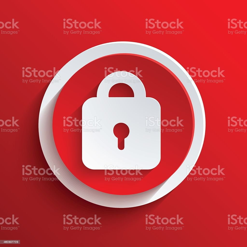 Vect red icon with a lock in the middle vector art illustration