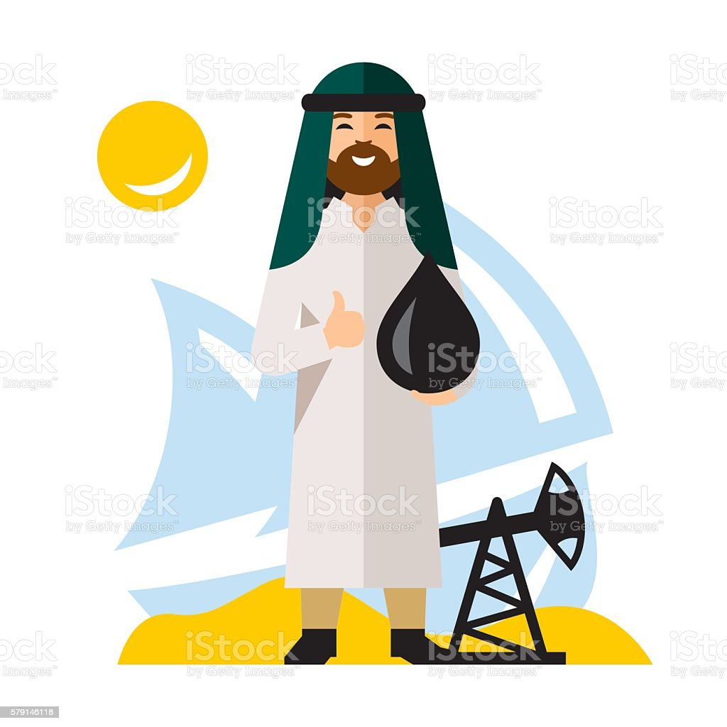 Vecto Arab Oil Industry. Flat style colorful Cartoon illustration. vector art illustration
