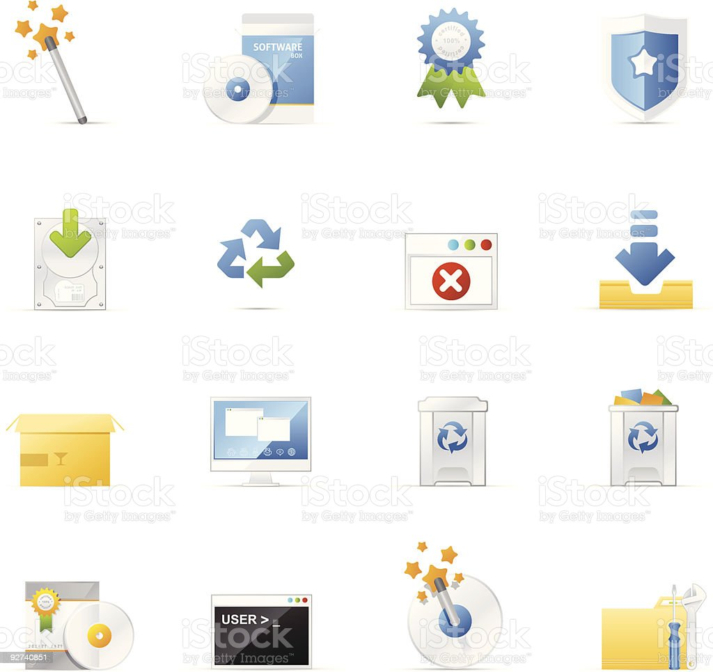 Vecto icon set - Software and Application vector art illustration