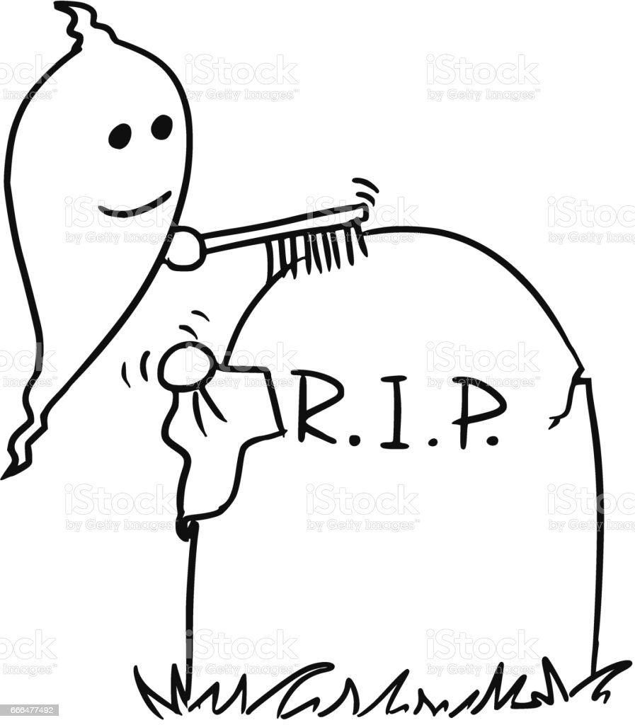 vecto rcartoon of ghost cleaning up the tombstone grave stock