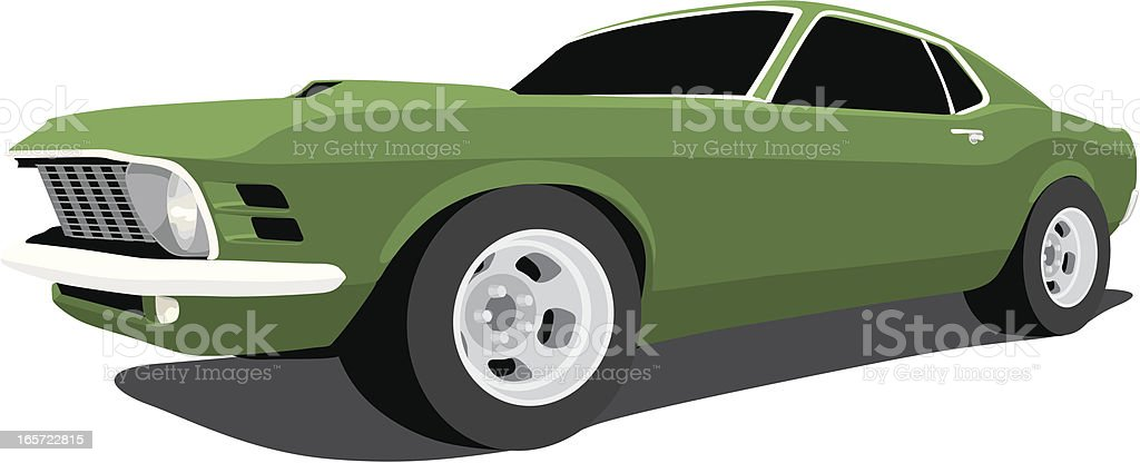 Vector 1970 Ford Mustang vector art illustration