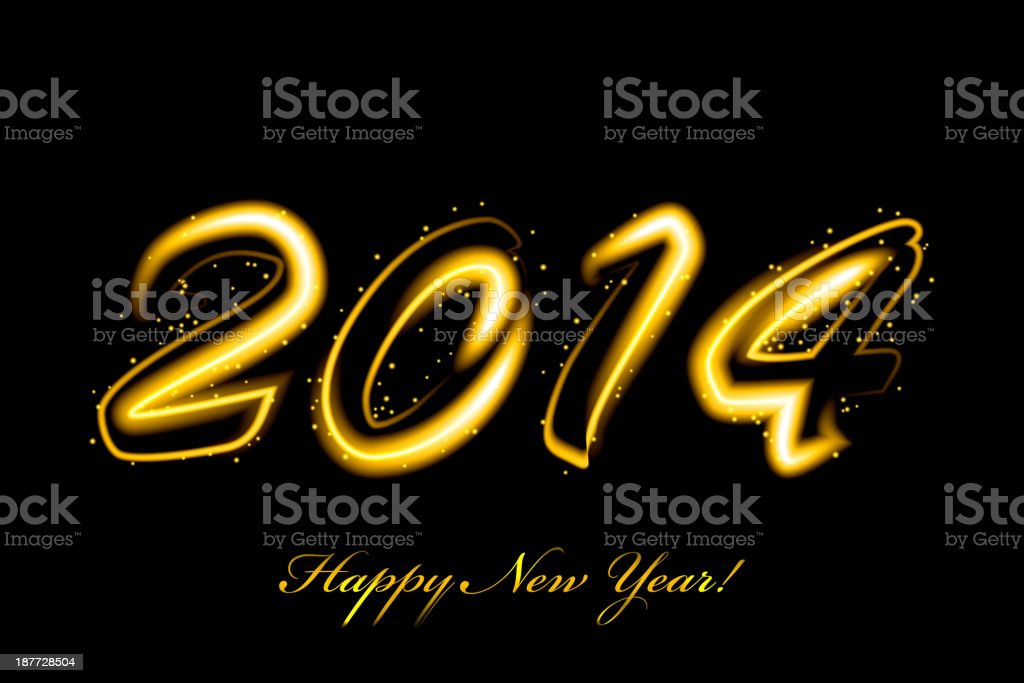 Vector 2014 new year glowing royalty-free stock vector art