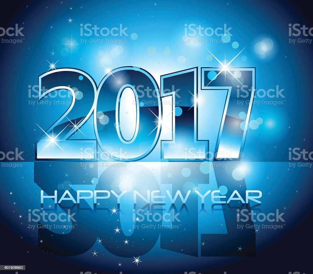 Vector 2017 Happy New Year background blue letters vector art illustration