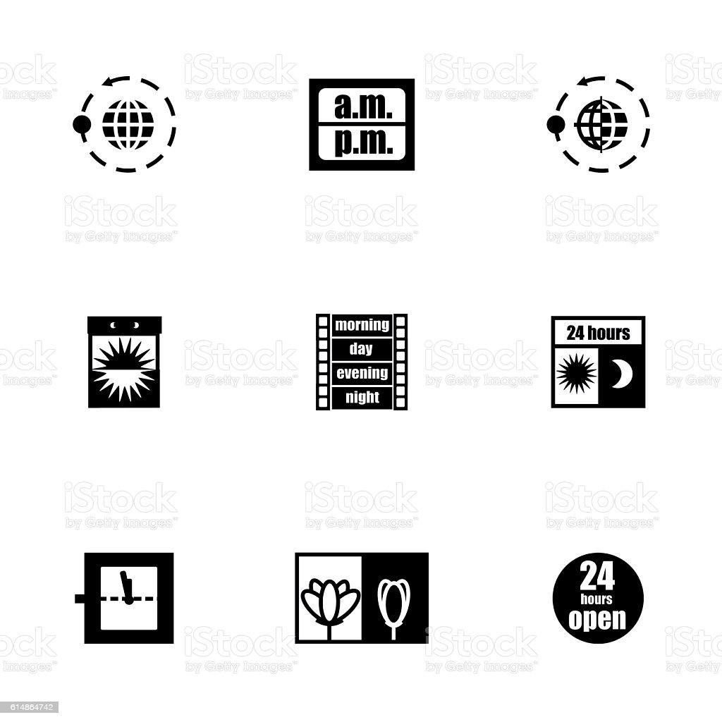 Vector 24 hours icon set vector art illustration