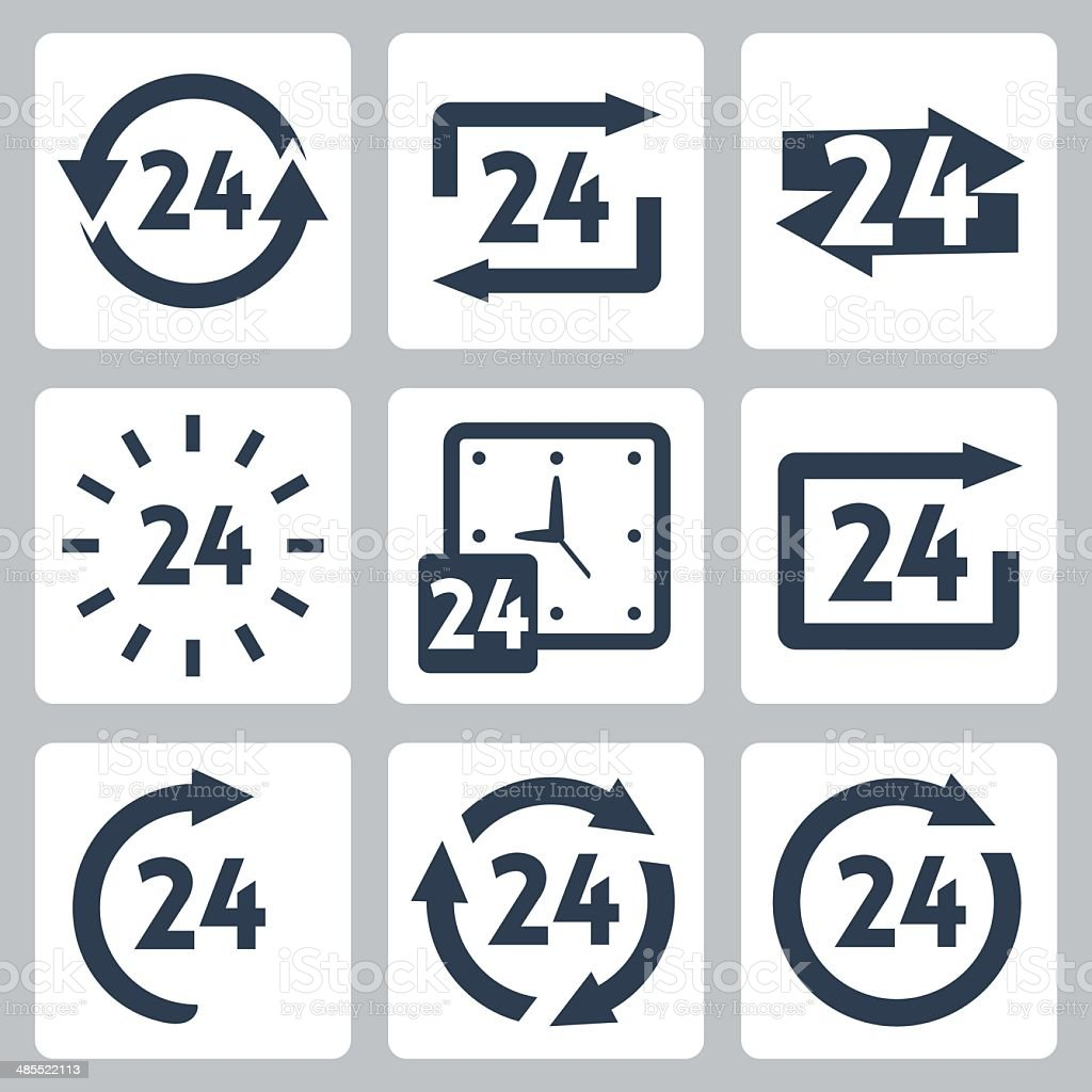 Vector '24 hours' icons set vector art illustration