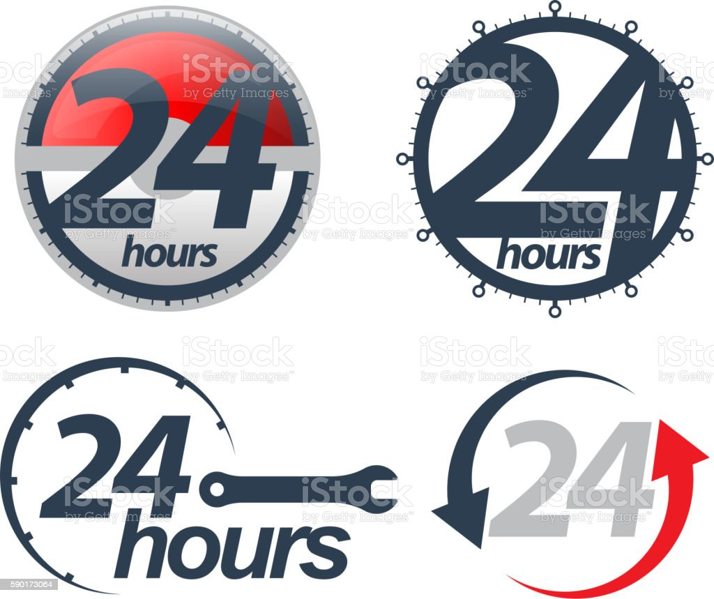 Vector 24 hours icons set. vector art illustration