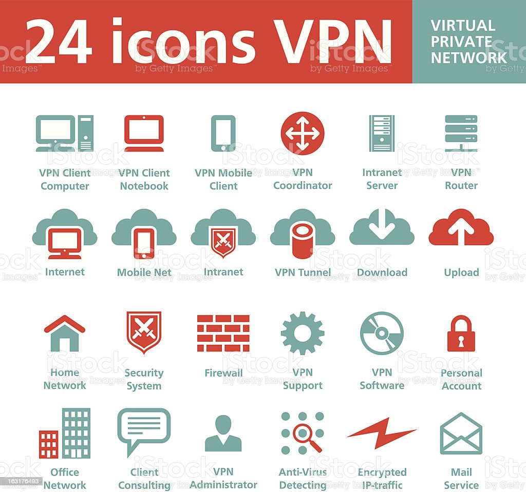 Vector 24 Icons VPN (Virtual Private Network) vector art illustration
