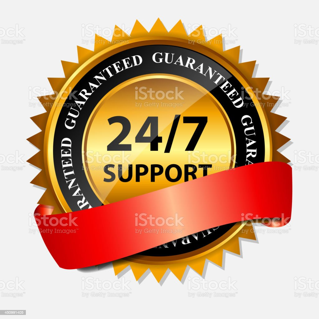 Vector 24/7 SUPPORT gold sign, label template royalty-free stock vector art