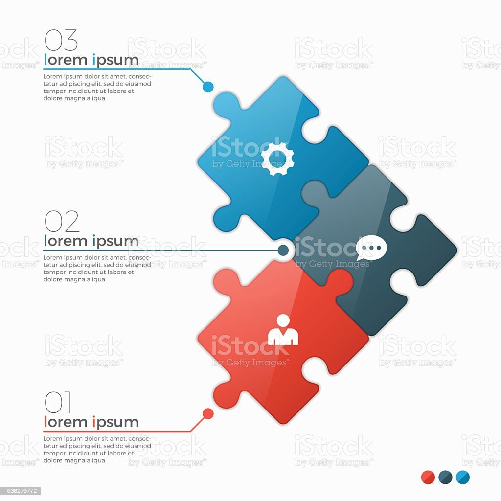 Vector 3 options infographic template with puzzle sections vector art illustration