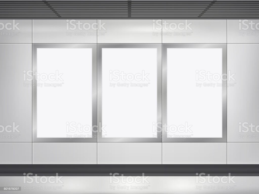 vector 3d blank billboard and lightbox vector art illustration
