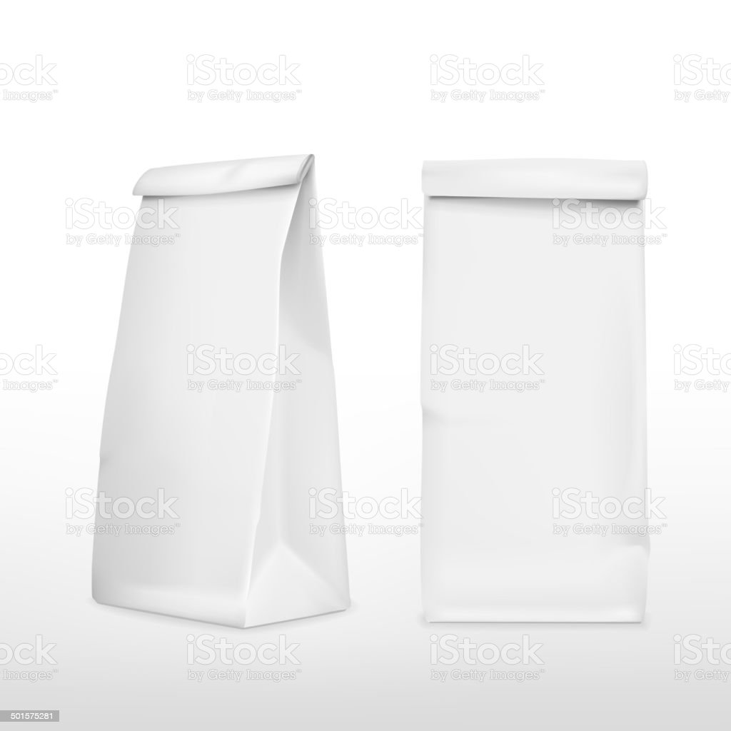 vector 3d blank paper bag vector art illustration