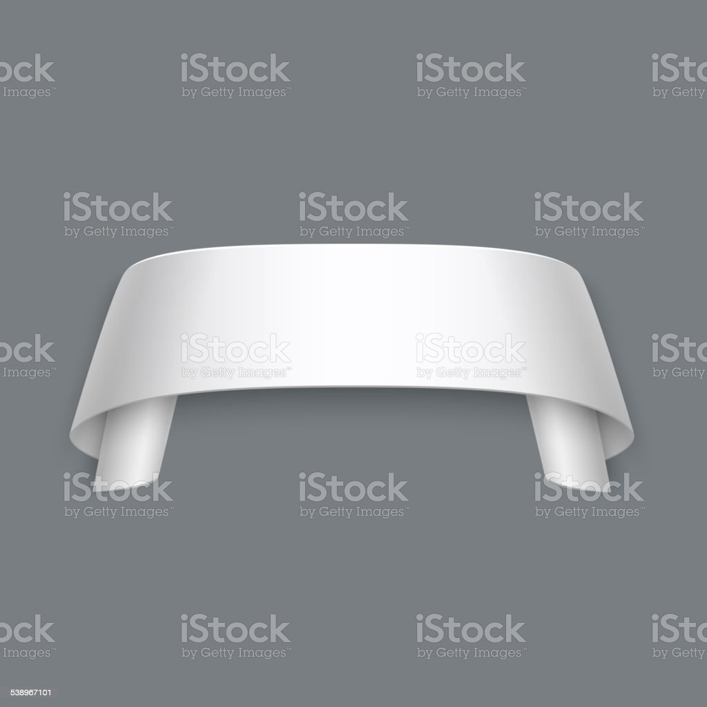 Vector 3d Curved Paper Banner Isolated on Grey Background vector art illustration