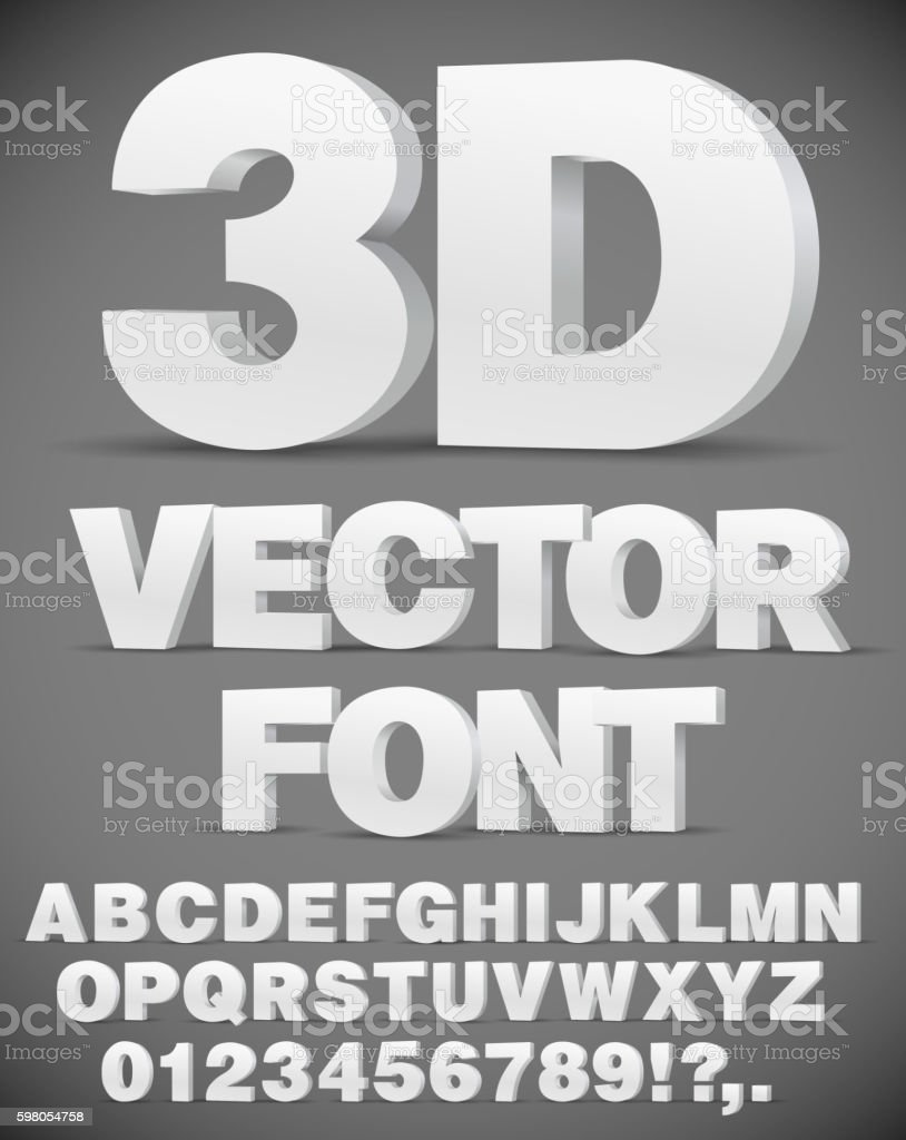 Vector 3D font vector art illustration