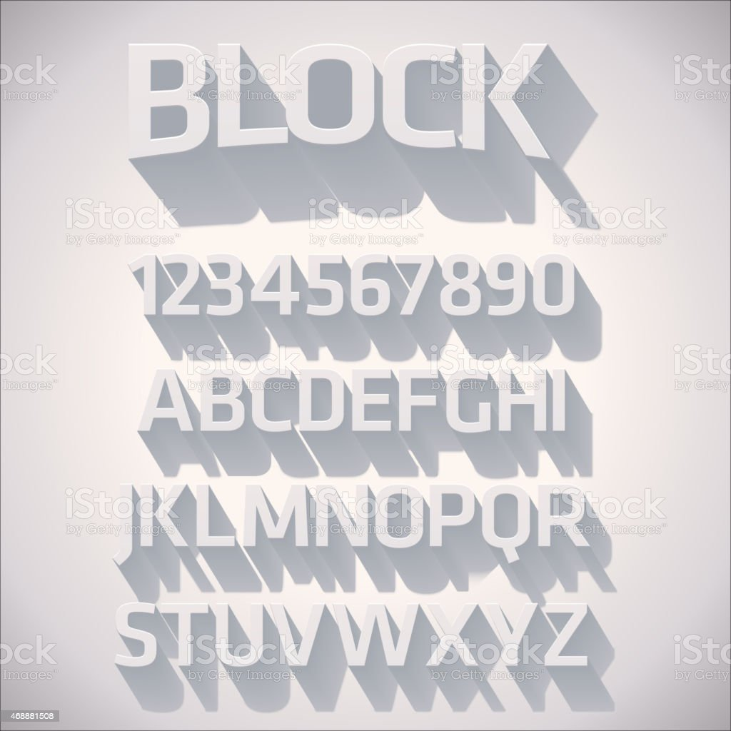 Vector 3D Font with shadow vector art illustration