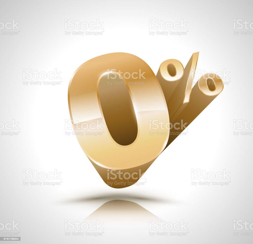 Vector 3d golden number Zero percent. Vector illustration. vector art illustration