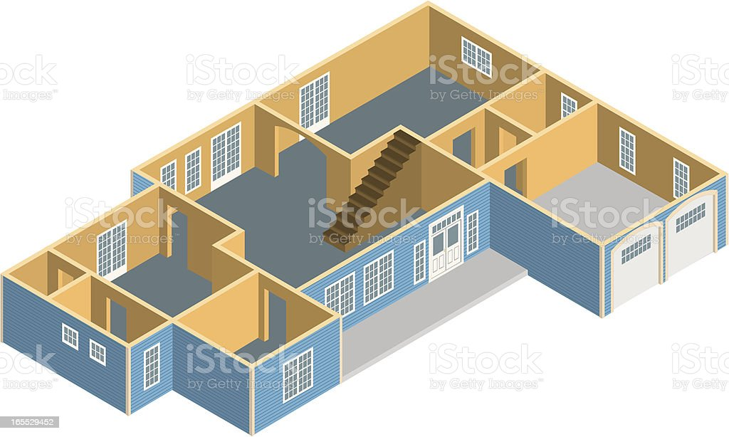 Vector 3D House Floorplan Devonshire royalty-free stock vector art