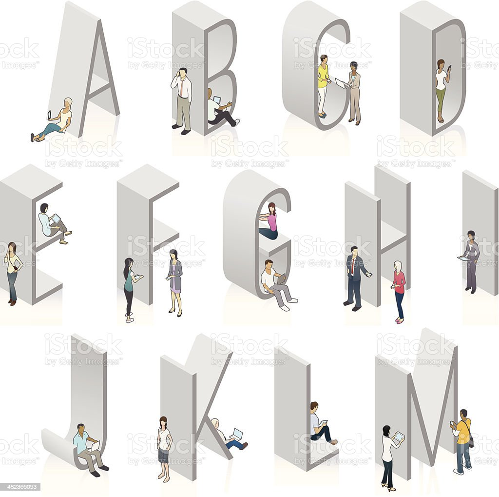 Vector 3-D letters people using mobile devices vector art illustration