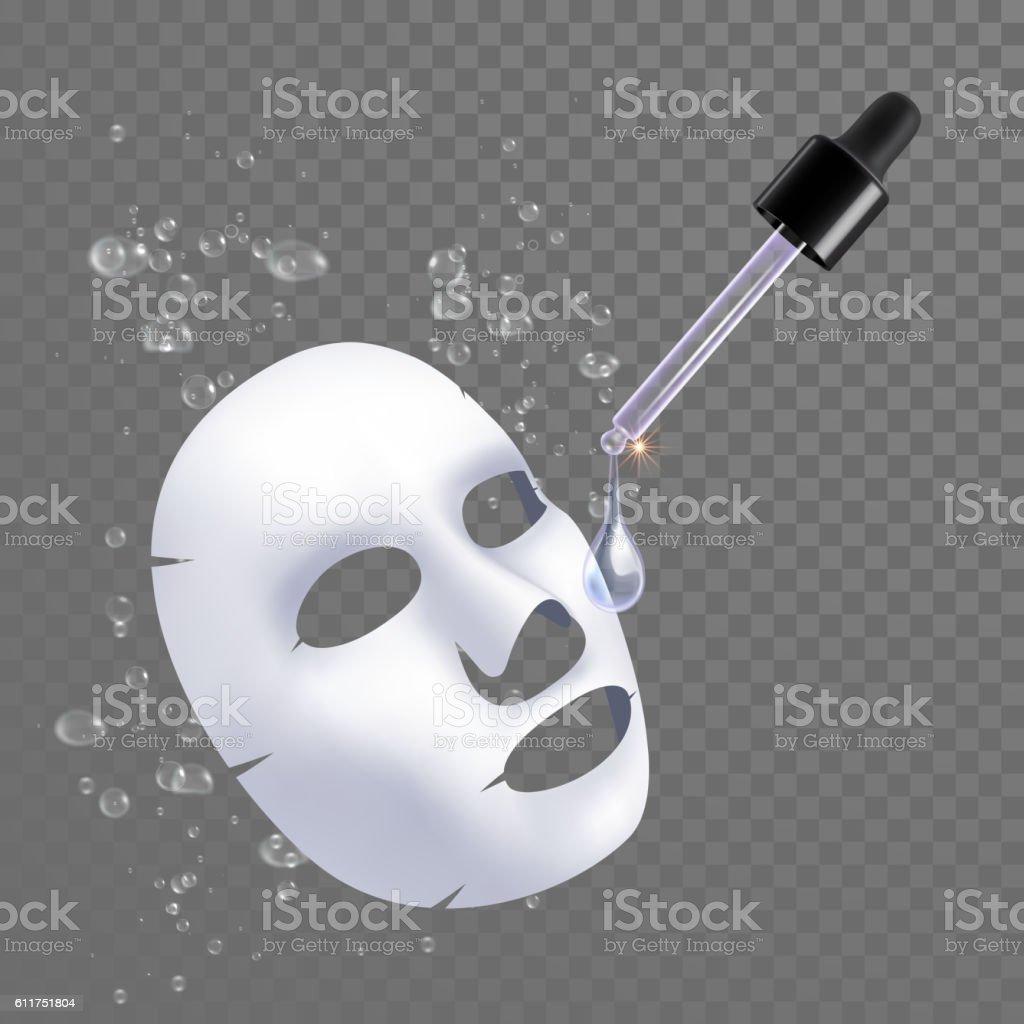 Vector 3d sheet facial mask moisture treatment vector art illustration