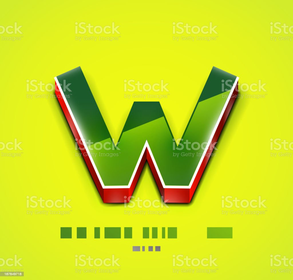 Vector 3d w letter royalty-free stock vector art