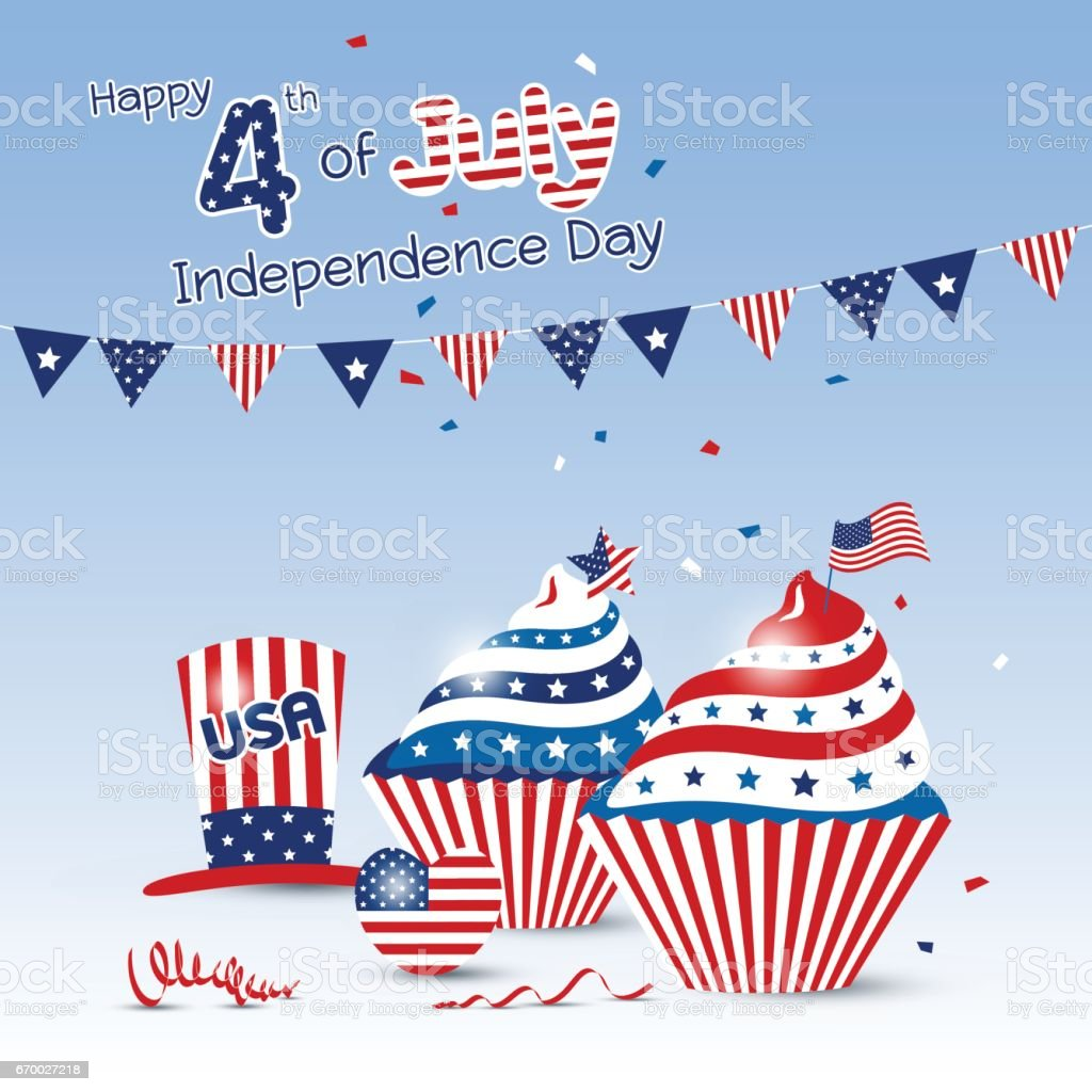 Vector 4 july independence day of USA design vector art illustration