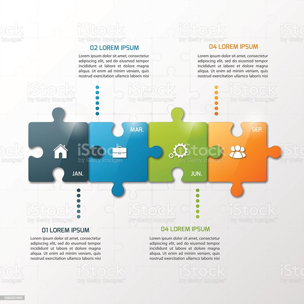 Vector 4 steps puzzle style timeline infographic template. vector art illustration