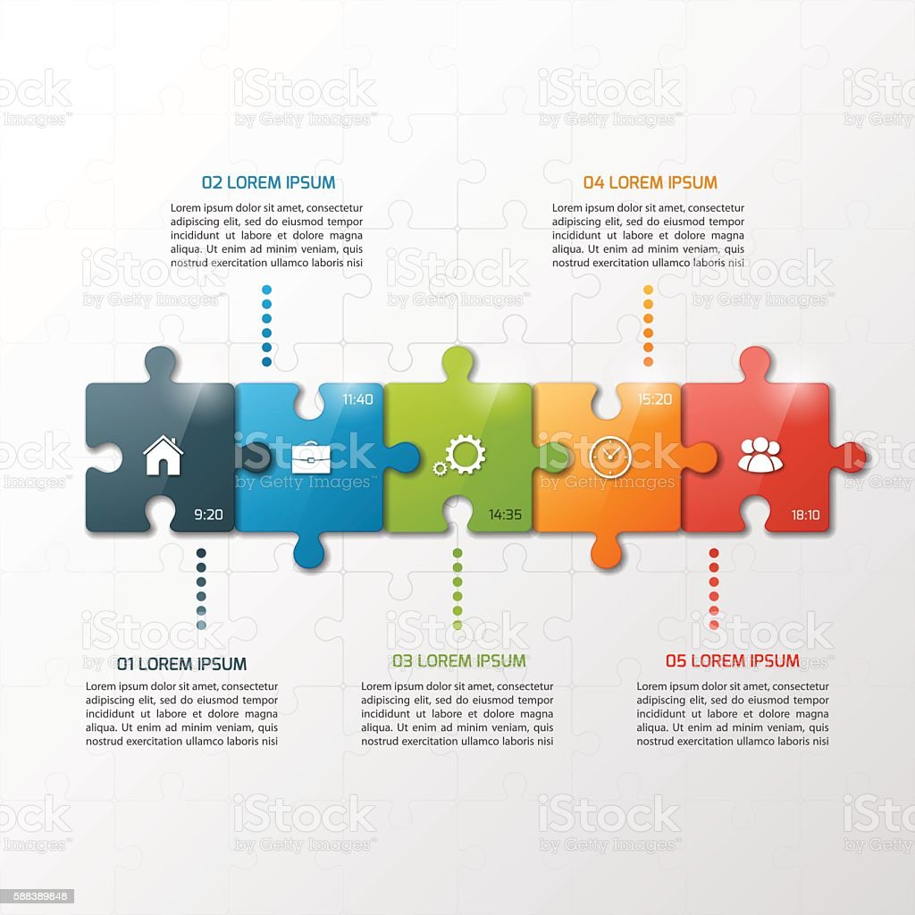 Vector 5 steps puzzle style timeline infographic template. vector art illustration