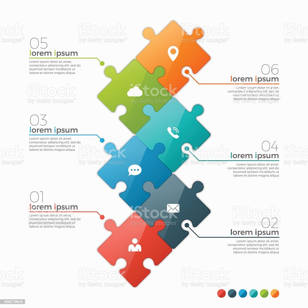 Vector 6 options infographic template with puzzle sections vector art illustration