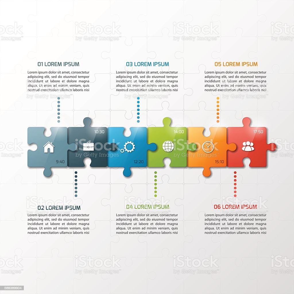 Vector 6 steps puzzle style timeline infographic template. vector art illustration