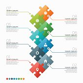 Vector 8 options infographic template with puzzle sections