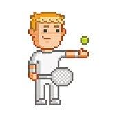 Vector 8-bit pixel art tennis player
