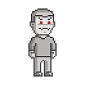 Vector 8-bit pixel art vampire