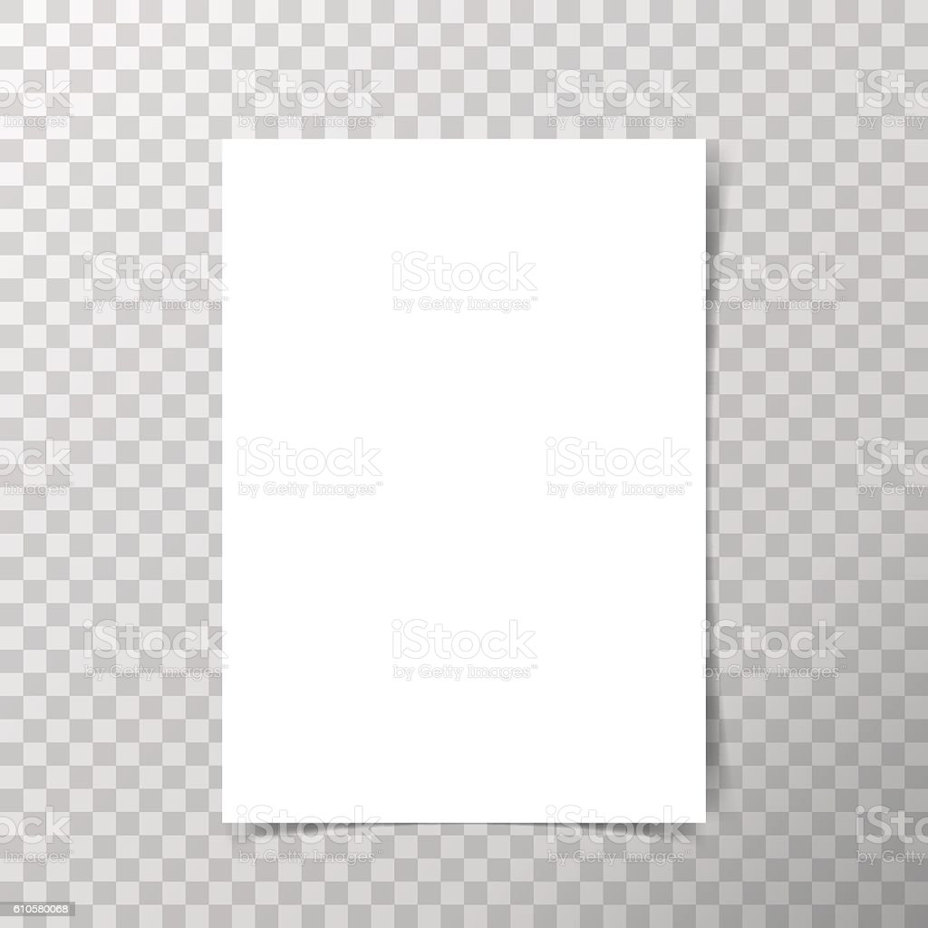 Vector A4 format paper with shadows on transparent background. vector art illustration