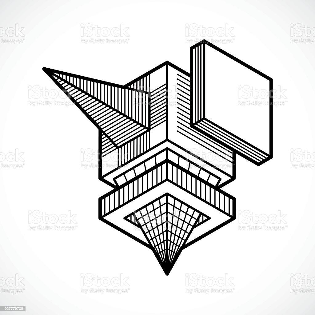 Vector abstract 3d geometric shape, polygonal figure. vector art illustration