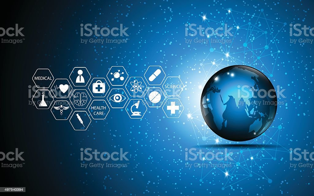 vector abstract background globe and medical health care innovation concept vector art illustration