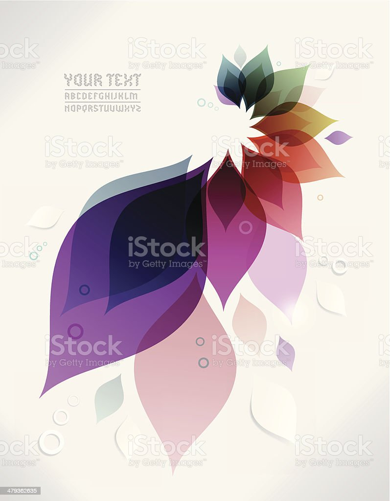 Vector abstract background with colorful leaves vector art illustration