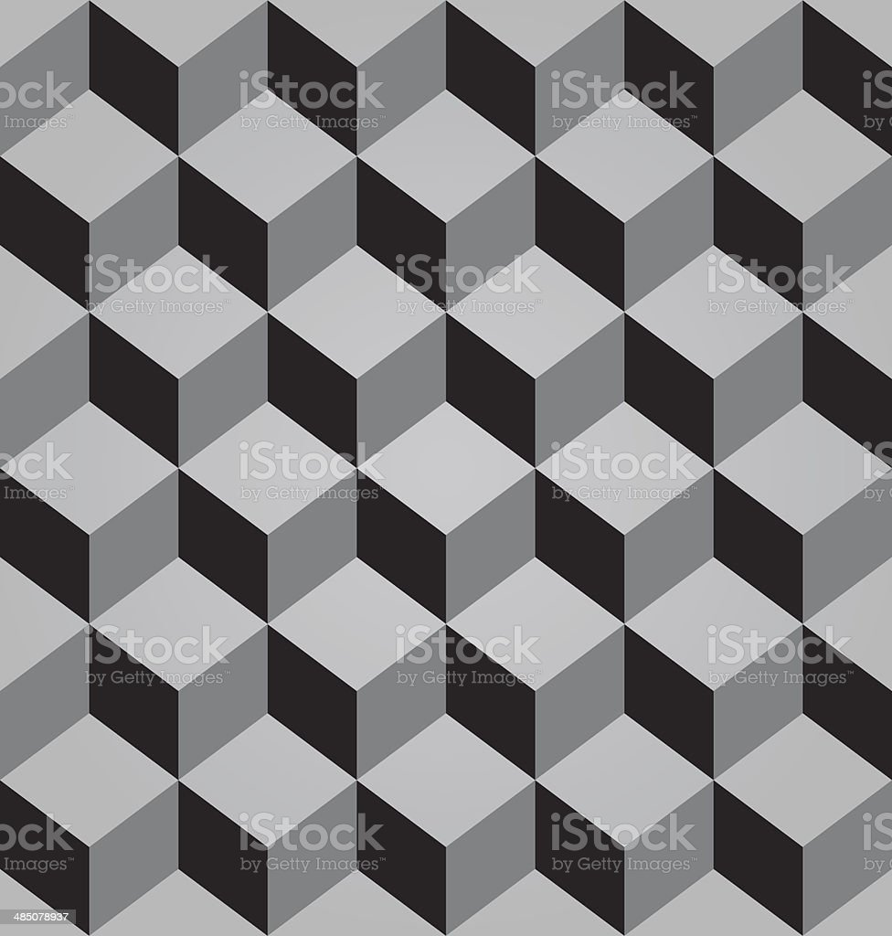 Vector abstract black seamless pattern made from stacked cubes vector art illustration