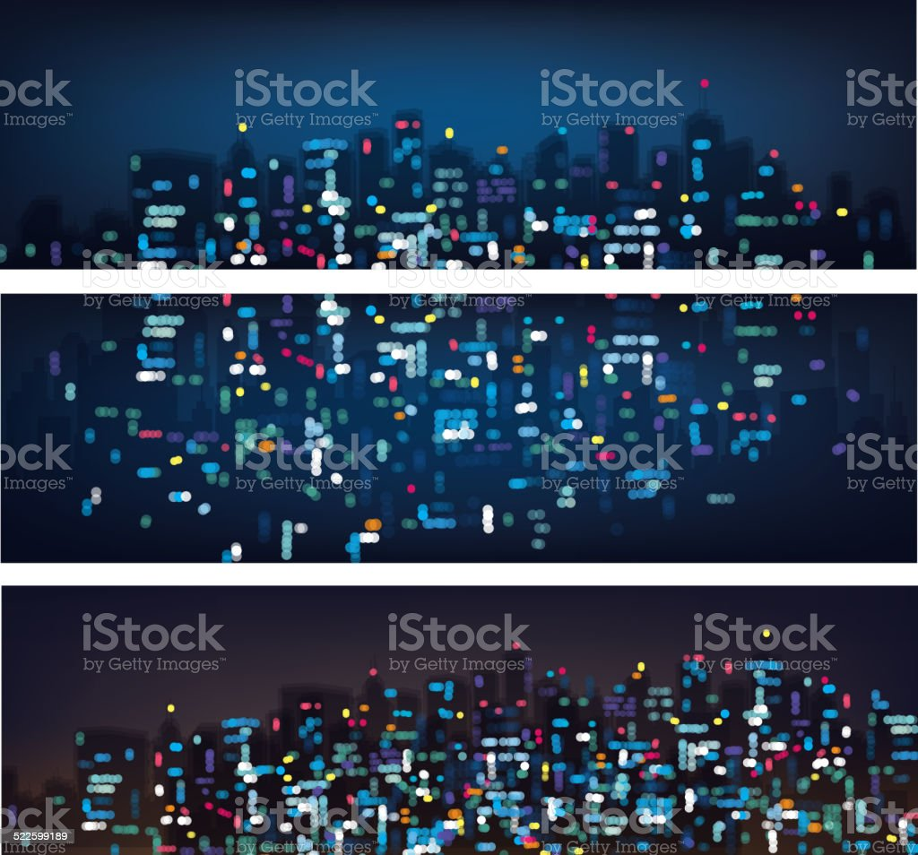 Vector abstract bokeh night city banners. vector art illustration
