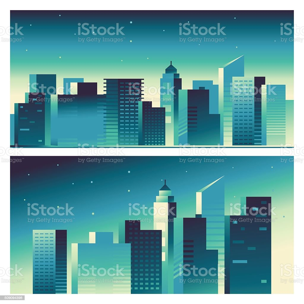 Vector abstract city landscape in bright gradient colors vector art illustration