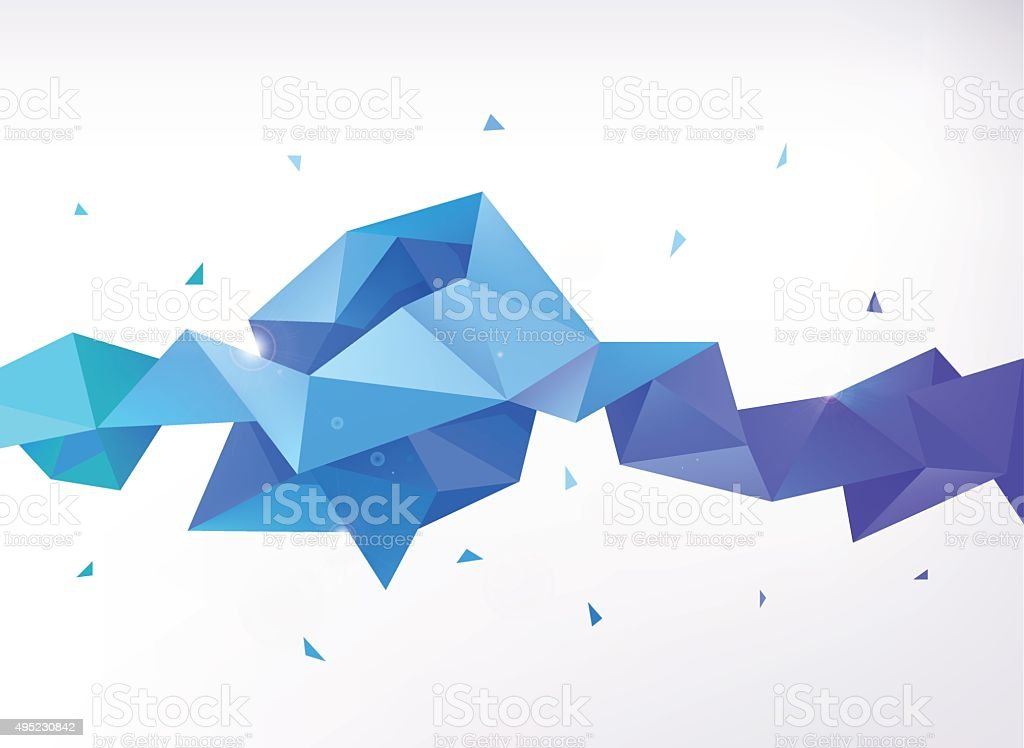 Vector abstract colorful blue faceted crystal banner vector art illustration