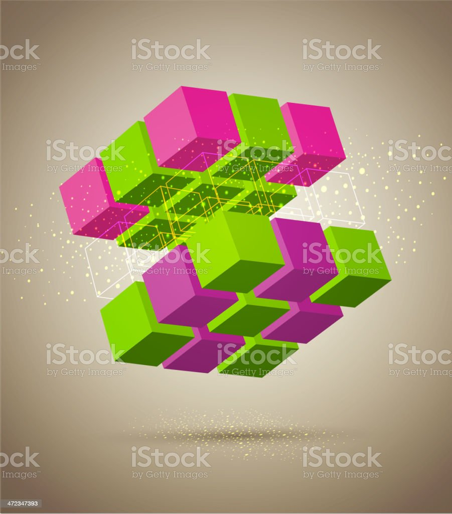 vector abstract colorful cube vector art illustration